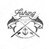 Logotipo del vector de la pesca Icono de la aguja azul o de los peces espadas Imágenes de archivo libres de regalías