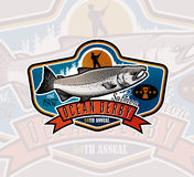 Logotipo del vector de la pesca Icono de Salmon Fish Fotografía de archivo