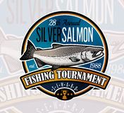 Logotipo del vector de la pesca Icono de Salmon Fish Imágenes de archivo libres de regalías