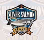 Logotipo del vector de la pesca Icono de Salmon Fish Imagenes de archivo