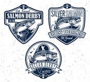 Logotipo del vector de la pesca Icono de Salmon Fish Fotos de archivo