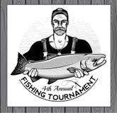 Logotipo del vector de la pesca icono del pescador o de los pescados libre illustration