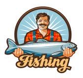 Logotipo del vector de la pesca pescador, icono de los pescados ilustración del vector