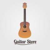 Logotipo del vector de la tienda de la guitarra Imagen de archivo libre de regalías