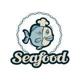 Logotipo del vector de los mariscos icono de la pesca, de los pescados o del restaurante stock de ilustración
