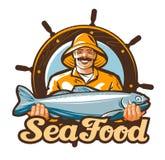 Logotipo del vector de los mariscos pescando, icono de los pescados frescos ilustración del vector