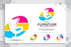 Logotipo del vector de los muebles con los diseños de concepto modernos y coloridos, silla minimalista del ejemplo, sofá, tabla c stock de ilustración