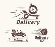 Logotipo del vector del reloj, del coche y de la caja rápidos de la entrega Fotografía de archivo