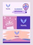 Logotipo del vector para el viaje turístico El color se va volando el cielo Bann de Internet Imágenes de archivo libres de regalías