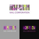 Logotipo del vector para la compañía del diseño del clavo con la tarjeta de presentación del negocio y modelo corporativo en esti Imagen de archivo