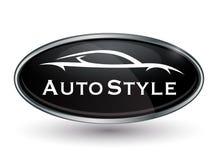Logotipo del vehículo del concepto de la insignia del cromo con la silueta del coche de deportes stock de ilustración
