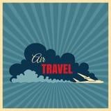 Logotipo del viaje del vintage con el avión Fotografía de archivo