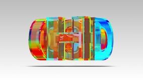 logotipo del vidrio de 3D HD animación 3D stock de ilustración