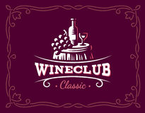 Logotipo del vino y de las uvas - vector el ejemplo, emblema ilustración del vector