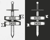 Logotipo del vintage de la espada - espada con la bandera de la cinta aislada en el fondo blanco y negro libre illustration