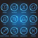 Logotipo del zodiaco del color de doce azules en el círculo Fotos de archivo