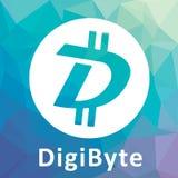 Logotipo descentralizado DGB del vector del criptocurrency del blockchain de DigiByte Fotografía de archivo libre de regalías
