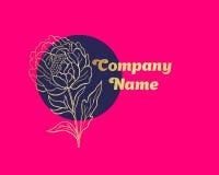 Logotipo dibujado mano de la flor de la peonía Imagenes de archivo