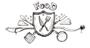 Dibujo del logotipo del icono de la comida Fotografía de archivo libre de regalías