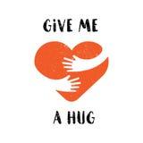 Logotipo do abraço você mesmo Dê-me um abraço Ame-se logotipo com o texto isolado no fundo branco para o cartão, casamento, t-shi Foto de Stock Royalty Free