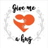 Logotipo do abraço você mesmo Dê-me um abraço Logotipo do amor você mesmo Escove a caligrafia, texto escrito à mão isolado no fun Fotografia de Stock