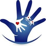 Logotipo do amor da mão Foto de Stock
