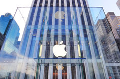 Logotipo do Apple Computer em New York City Imagens de Stock Royalty Free