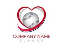 Logotipo do basebol do amor ilustração do vetor