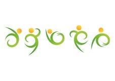 Logotipo do bem-estar dos povos da natureza, símbolo natural da aptidão, vetor da cenografia do ícone da saúde do corpo humano Imagens de Stock Royalty Free