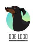 Logotipo do cão do bassê no fundo branco ilustração do vetor