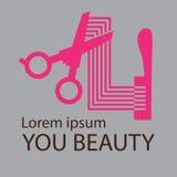 Logotipo do cabeleireiro, projeto cosmético do logotipo do salão de beleza Imagem de Stock Royalty Free