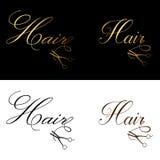 Logotipo do cabelo, estilo limpo clássico luxuoso, texto elegante do roteiro com tesouras Fotos de Stock Royalty Free