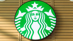 Logotipo do café de Starbucks Fotografia de Stock Royalty Free