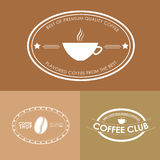 Logotipo do café do projeto em fundos coloridos Fotos de Stock Royalty Free
