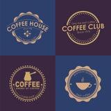 Logotipo do café do projeto em fundos coloridos Imagens de Stock Royalty Free