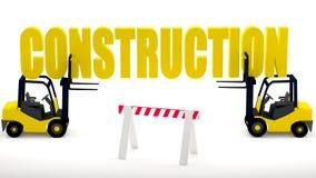 Logotipo do canteiro de obras com empilhadeiras e uma barreira da construção que simbolize a segurança na zona da construção ilustração do vetor