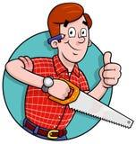 Logotipo do carpinteiro dos desenhos animados Fotografia de Stock Royalty Free