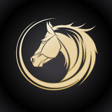 Logotipo do cavalo do ouro Fotografia de Stock Royalty Free