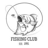 Logotipo do clube da pesca ilustração stock