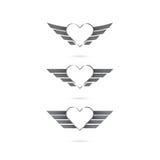 Logotipo do coração com as asas do anjo no fundo Ilustração do vetor ilustração stock