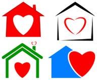 Logotipo do coração da casa Fotografia de Stock