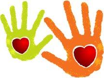 Logotipo do coração de duas mãos Fotografia de Stock