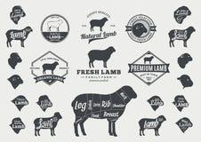 Logotipo do cordeiro do vetor, ícones, cartas e elementos do projeto Imagens de Stock