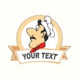 Logotipo do cozinheiro chefe dos desenhos animados com bandeira Fotos de Stock Royalty Free