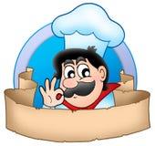 Logotipo do cozinheiro chefe dos desenhos animados com bandeira Imagem de Stock