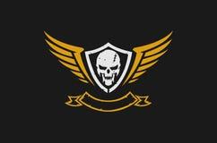 Logotipo do crânio e das asas ilustração royalty free