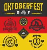 Logotipo do crachá de Oktoberfest e grupo de etiquetas Fotografia de Stock