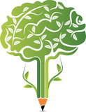 Logotipo do cérebro da árvore Fotografia de Stock Royalty Free