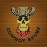 Logotipo do crânio, logotipo do vaqueiro Fotografia de Stock Royalty Free