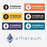 Logotipo do cryptocurrency de Ethereum Fotos de Stock Royalty Free